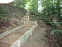 new wooden steps footpath