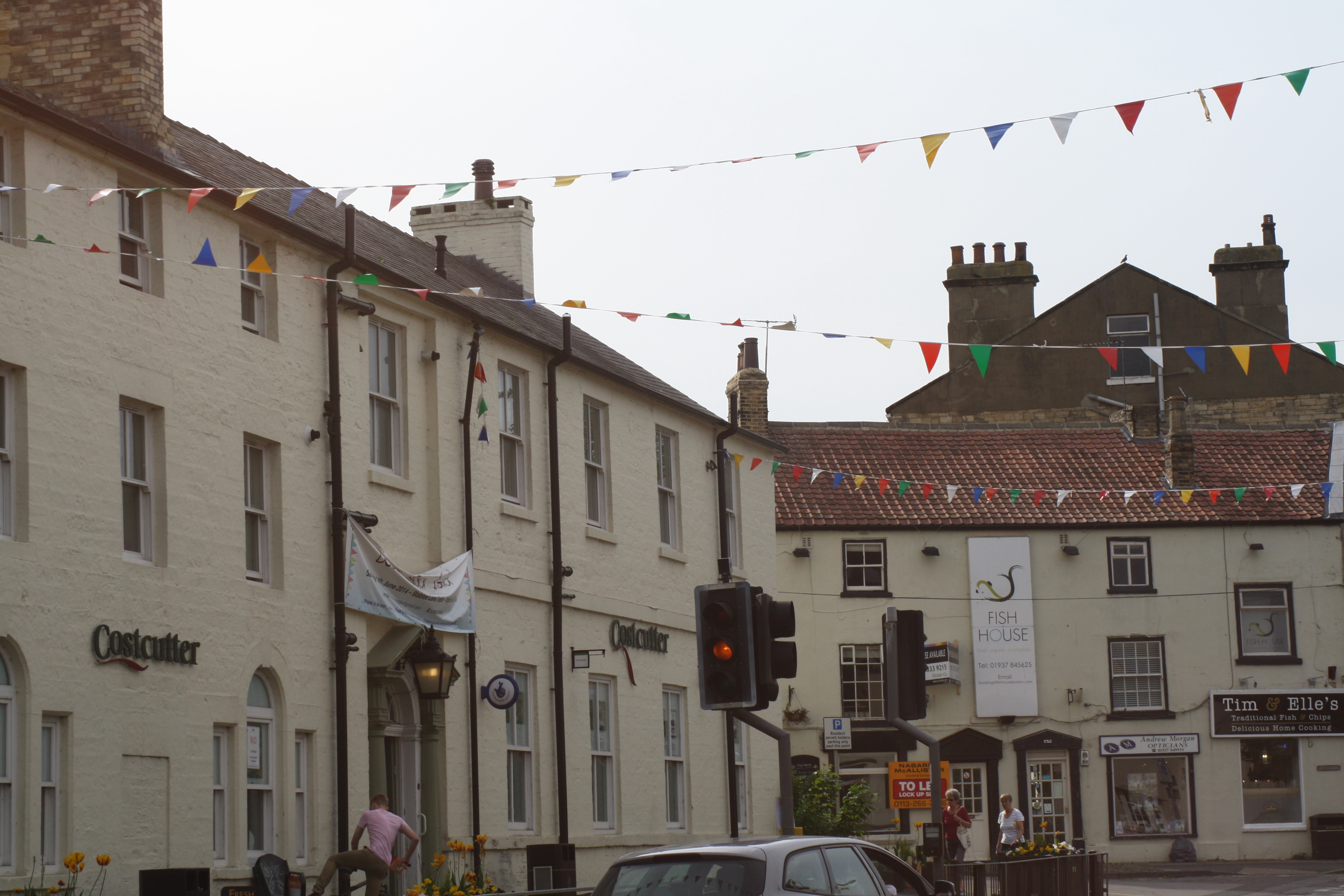 town with bunting